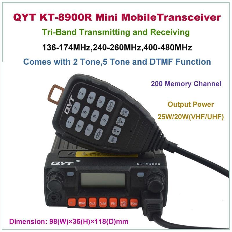 Mini Mobile Transceiver QYT KT-8900R KT8900R Tri-band Mobile Radio 136-174/240-260/400-480MHz KT-8900 KT8900 Upgraded VersionMini Mobile Transceiver QYT KT-8900R KT8900R Tri-band Mobile Radio 136-174/240-260/400-480MHz KT-8900 KT8900 Upgraded Version