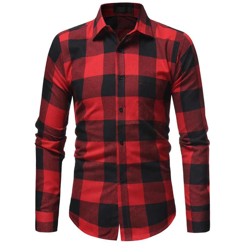 Мужской фланелевый клетчатый рубашка Camisa Masculina 2018, весенне-осеннее платье с длинными рукавами, рубашка для мужчин, деловые рубашки в повседневном стиле с карманом