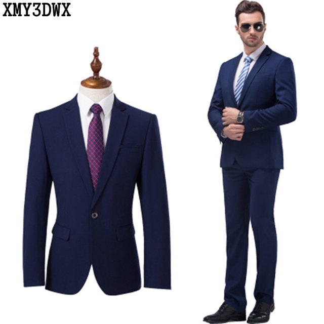 Jacket+pant) 2017 Men\'s Black Suits Business Blazer Casual Suit ...