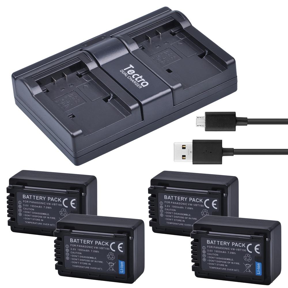 Tectra 4PCS VW-VBT190 VBT190 Li-ion Battery +USB 2-Channel Charger for Panasonic HC-V110 HC-V130 HC-V160 HC-V180 HC-V201 HC-V210 аккумуляторный перфоратор bosch gbh 180 li 4 0ач x2 0611911023