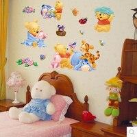 Ücretsiz nakliye Winnie the Pooh karikatür duvar çıkartmaları çocuk odası dekor kreş zemin çıkartmalar