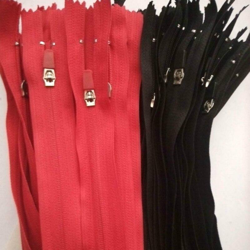 100 unids lote más el envío libre de nylon con cremallera negro rojo cerca  de final con extractor de cuero para bolsillo bolso DIY Costura accesorios 614d3234662