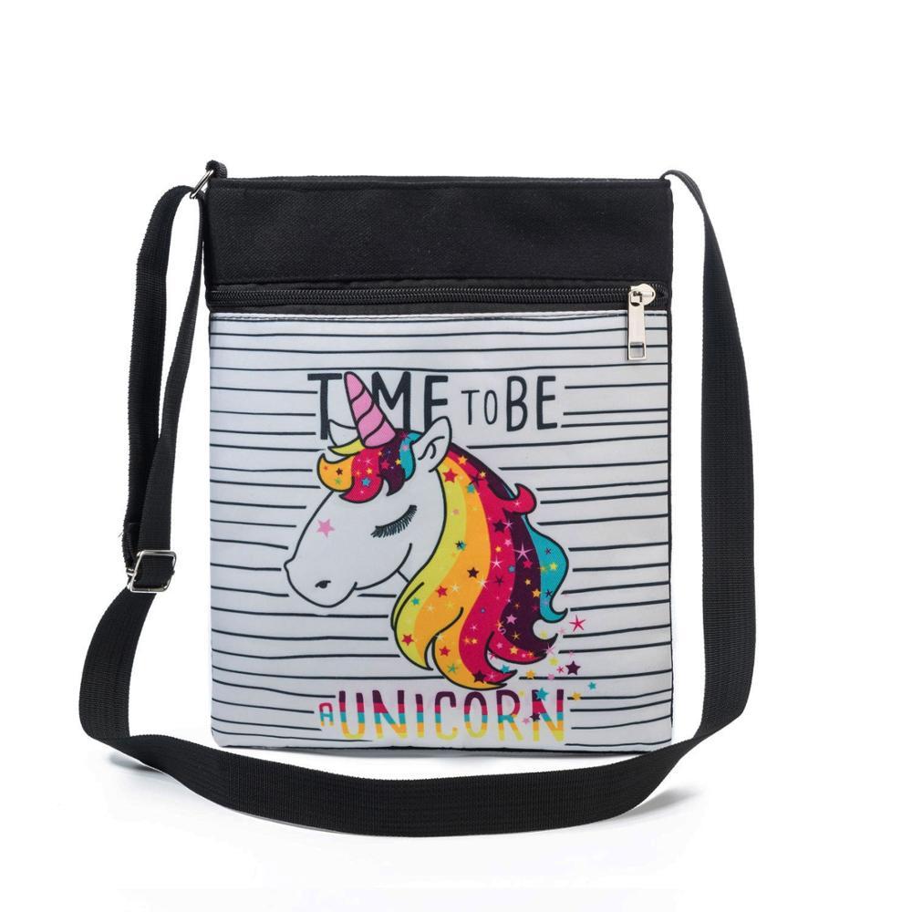 Miyahouse Fashion Unicorn Printed Mini Shoulder Bag Colorful Small Crossbody Travel Bag Double Zipper Messenger Bag For Girls