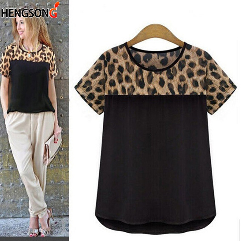 HENGSONG Fashion Womens Summer Leopard Print Patchwork Design Cute Loose Chiffon Short Sleeve Top T-shirt Casual t shirt 737475