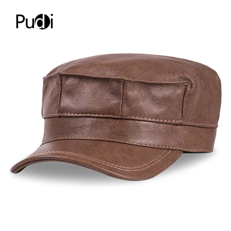 HL059  genuine leather men baseball cap hat brand new mens real adult solid adjustable army hats/caps