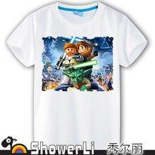 Cotton short sleeve man t shirts, cute cartoon,game man's shirt figure kids wear summer star war American toys clothes