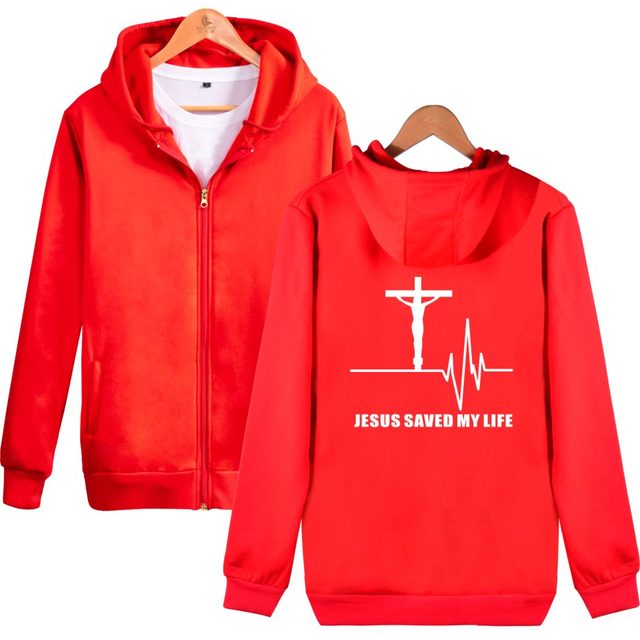Jesus Saved My Life Hooded Men and Women Zipper Sweatshirt