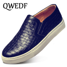 QWEDF Big Size Men PU Leather Shoes Slip On Black S