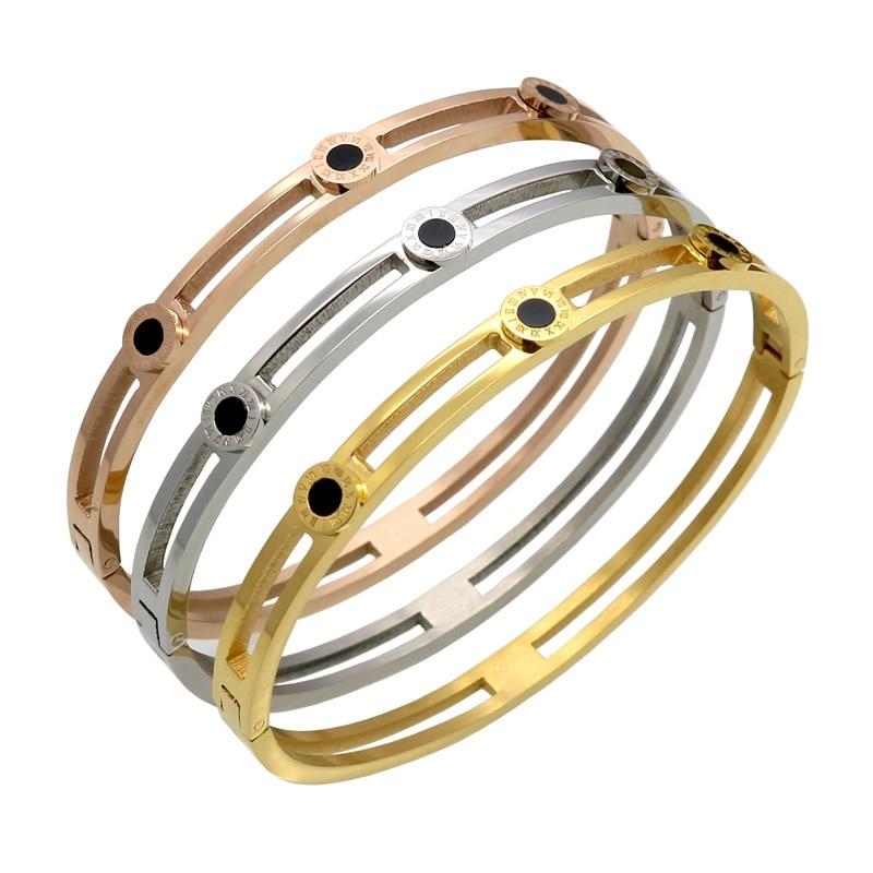 Stylish simple new Roman alphabet stick-black bell bracelet buckle opening Titanium steel stainless steel bracelet ornaments