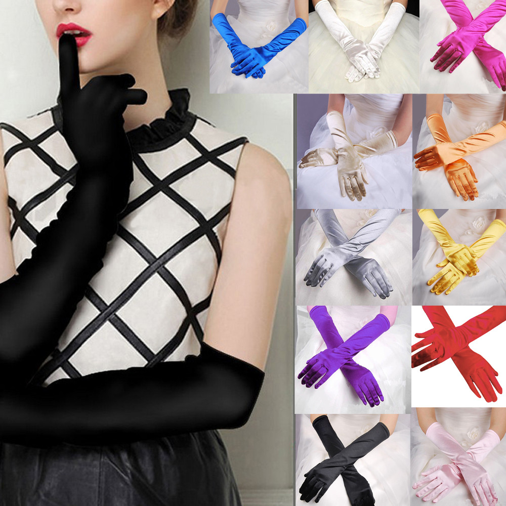 Womens Long-Gloves Satin Opera Stretch Party Evening Banquet Prom Gloves mangas long