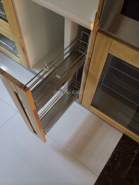 2-tier stainless steel pull out tray soft close side mount for 150mm kitchen cabinet