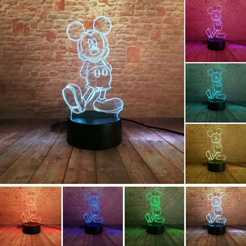 Luminous Baby Mickey Brinquedo 3D Illusion LED Nightlight Colorful Flashing Light Mickey Mouse Anime Figure Toys