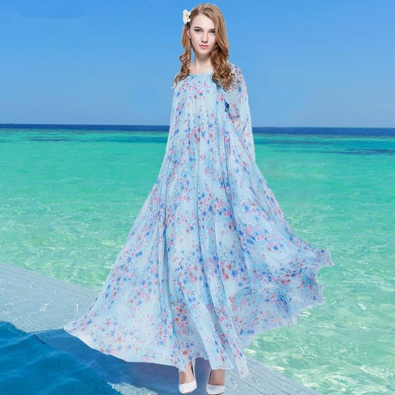 Cocktailjurk Bruiloft 2019.2019 Blauwe Bloemen Lange Mouwen Boho Vakantie Strand Oversized Maxi
