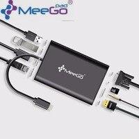 Meegopad Type C Hub HD Video HDMI VGA Output Gigabit Ethernet RJ45 Adapter USB 3 0