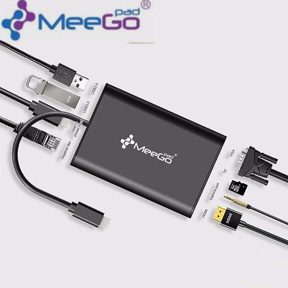 Meegopad Type-C Hub HD Video HDMI VGA Output Gigabit Ethernet RJ45 Adapter USB 3.0 Ports DSP Support AUDIO TF Cards hub adapter 3 usb 2 0 ports