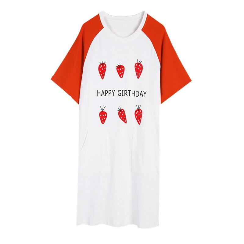 women   nightgown   cotton   sleepshirt   simple sleep clothing strawberry print short sleeved sleepwear female pyjamas girl nightdress