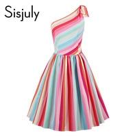 Sisjuly Vintage Dress Stripe Rainbow Patchwork Pullover Dress Retro Sleeveless Summer Female Elegant 2017 Beauty Girl