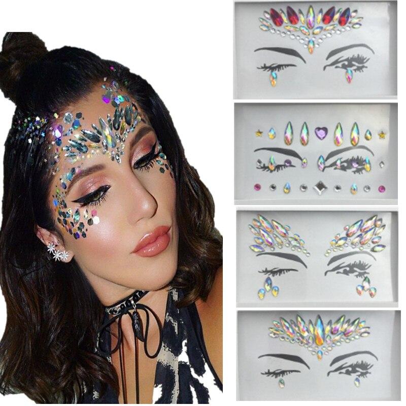 4bfc38585 Boho Chic Rhinestone Tattoo Stickers Face Jewels Gems Festival Party Body  Art Flash Sticker Stage Make Up Maquillaje Hippie