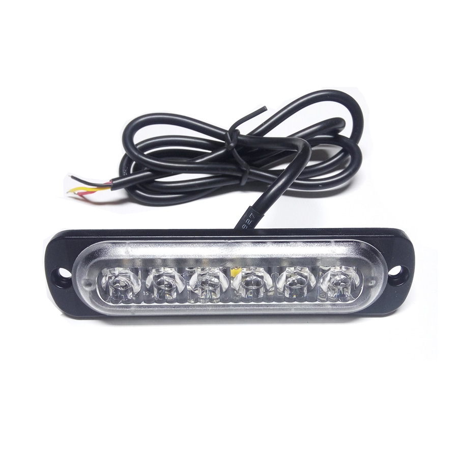 Car-Styling 18W White Amber Lamp Flash Flashing Auto Strobe Emergency Warning Light Bar 6 LED Parking Lights New Free Shipping