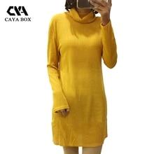 Caya коробка водолазка желтый вязаный Для женщин зимний свитер платье черный, белый цвет платья с длинным рукавом хорошее качество Vestidos