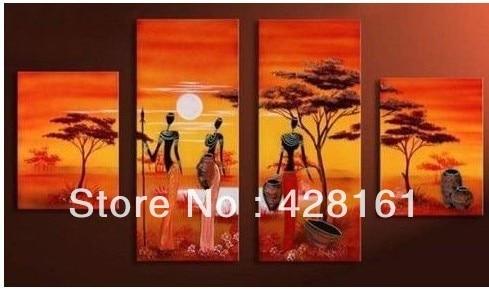 handpainted 4 шт ландшафт африканський - Домашній декор