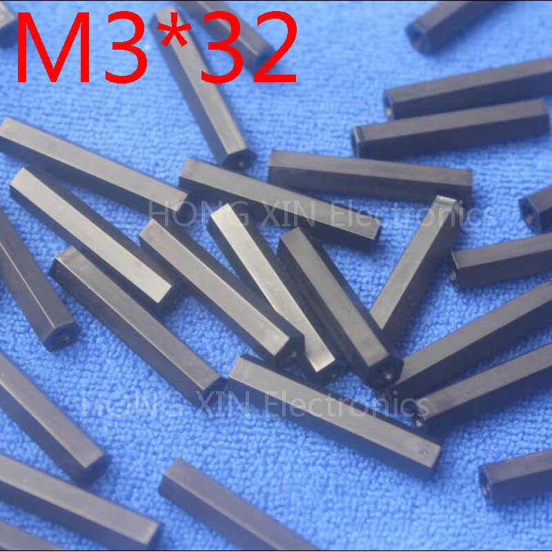M3 * 32 1 pcs hitam Nylon 32mm Hex Kebuntuan Spacer Perempuan Threaded Hexagonal Standoff Spacer Plastik Spacer berkualitas tinggi