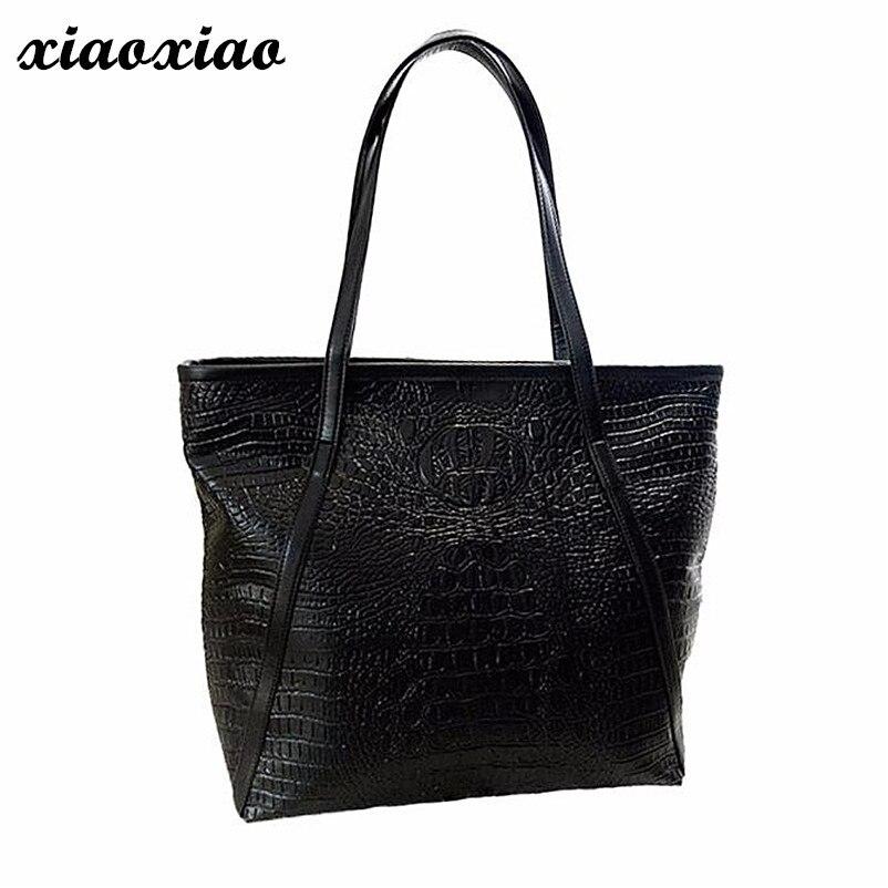 Brand Fashion Casual Women Shoulder Bags Red Purple Beige Black Crocodile Handbag PU Leather Female Big Tote Bag Ladies Hand Bag