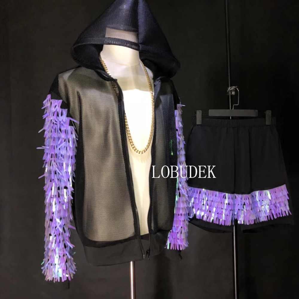 ブラックメッシュジャケットパープルスパンコールパンツ男性のスーツの潮男性歌手ナイトクラブ服ヒップホップロックダンサー衣装