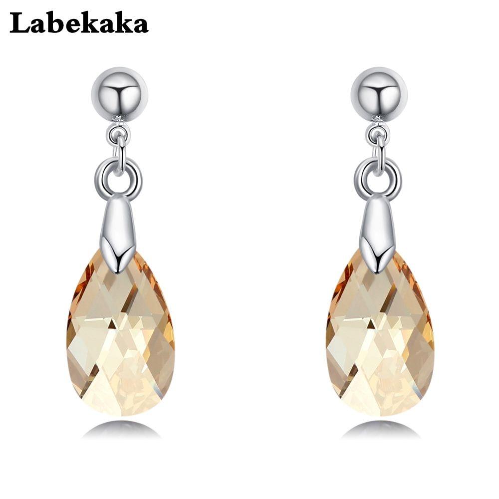 Labekaka, стразы, капли воды, серьги для женщин, модные, украшенные кристаллами Swarovski, висячие серьги, вечерние ювелирные изделия