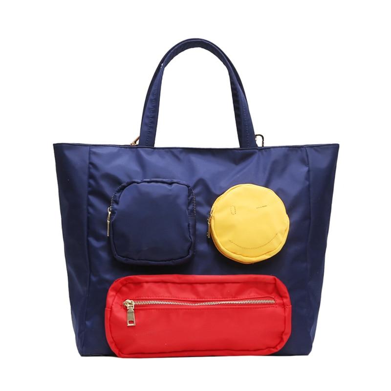 Casual Reise Totes Handtasche Nette Smiley Wasserdichte Große große Kapazität Tasche Nylon Einkaufstaschen für Frauen Mädchen Hängen Reisetasche-in Reisetaschen aus Gepäck & Taschen bei  Gruppe 1