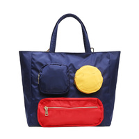Casual Travel Totes Handbag Cute Smiley Waterproof Large Big Capacity Bag Nylon Shopping Bags for Women Girl Hanging Travel Bag