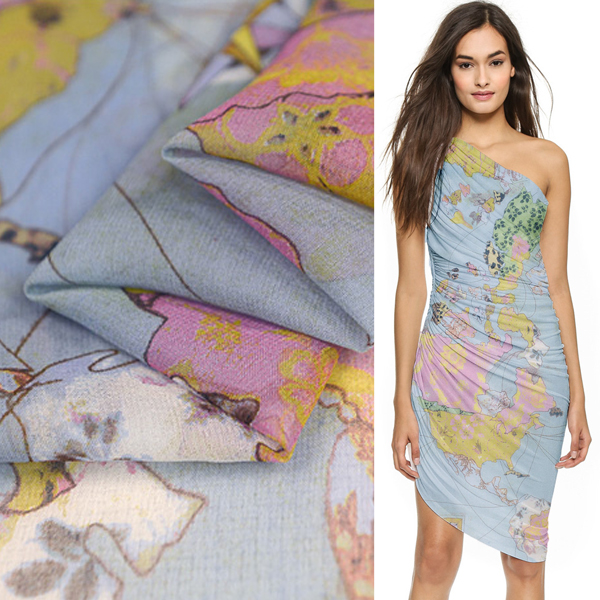 Positioning 0 9yard Longth World Map Print Pure Silk Georgette