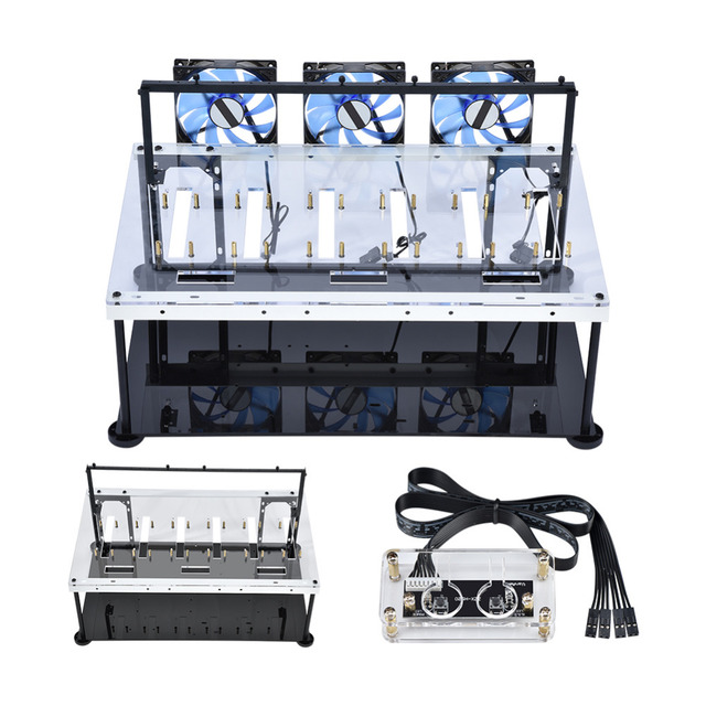 Double Layer Open Air For BTC Mining Case Computer Frame 8 Graphics Card GPU With Anti-static Switch Cooling Fan Computer Cases