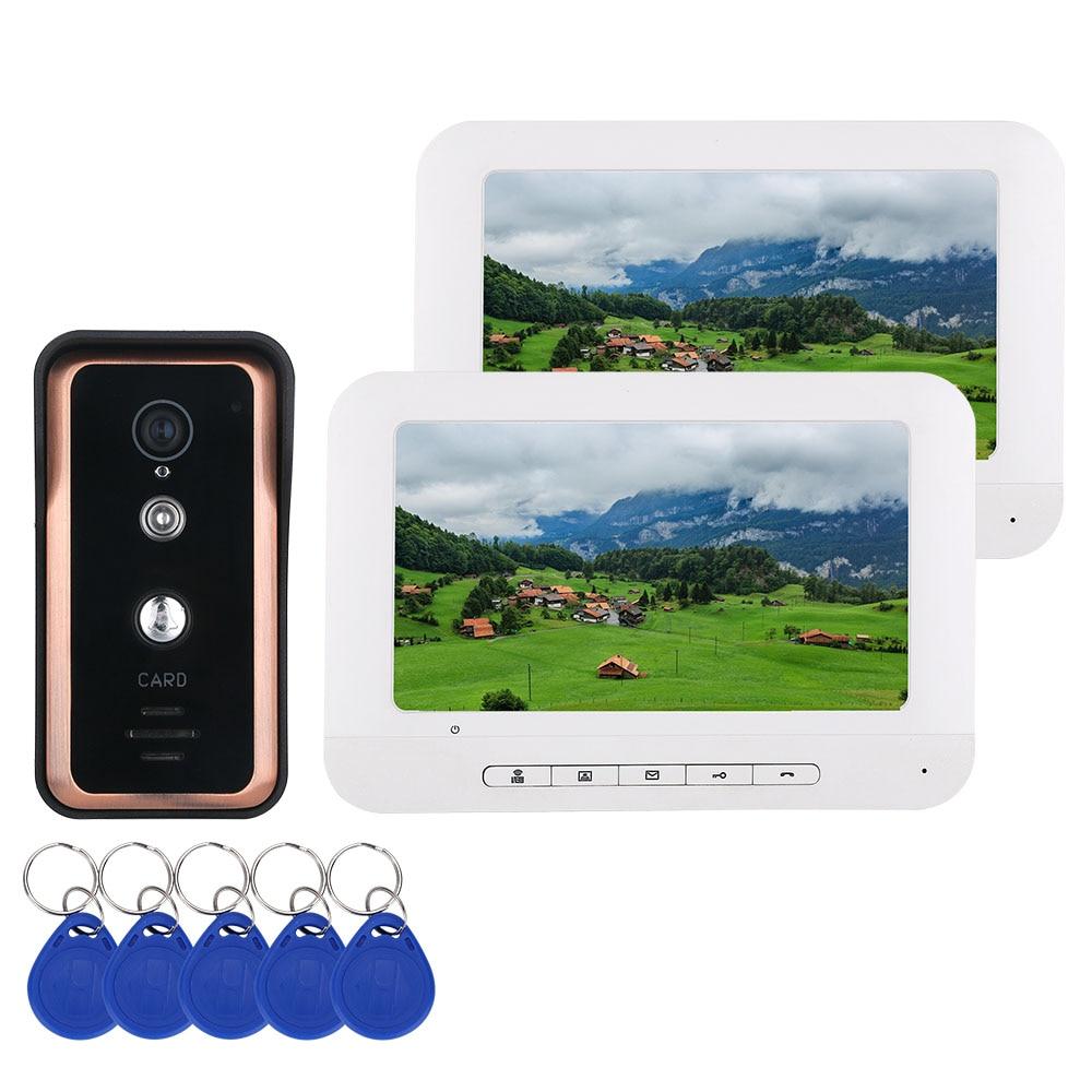 2 Monitor 7 Inch Color Video Intercom Door Phone System With  RFID Card Reader HD Doorbell 1000TVL IR-CUT Camera