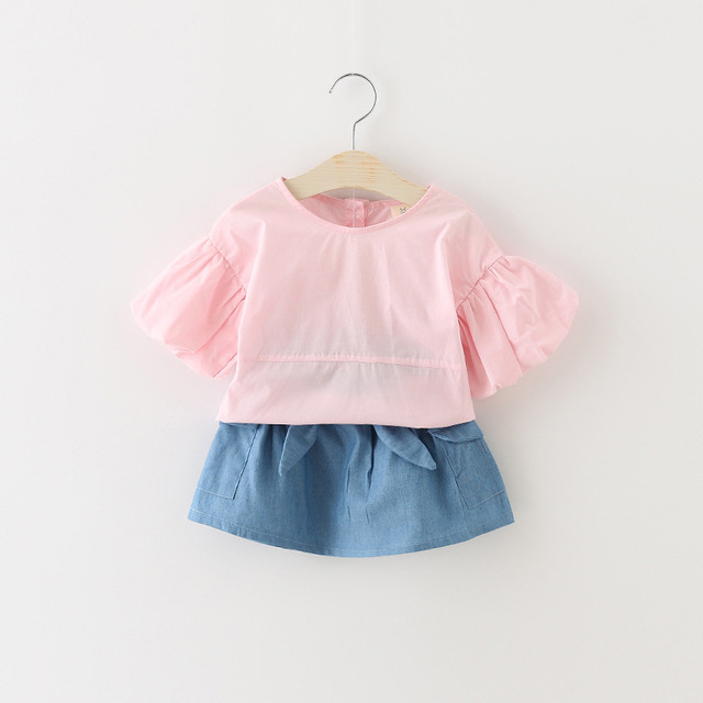 new arrived 2016 summer solid puff sleeve blouse+denim skirts 2pcs baby girl clothes set casual infants clothing newborn outfits