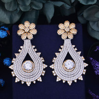 GODKI 67mm Luxury Popular Luxury Peacock Tail Full Mirco Pave Crystal Zircon Earrings Fashion Jewelry for Women