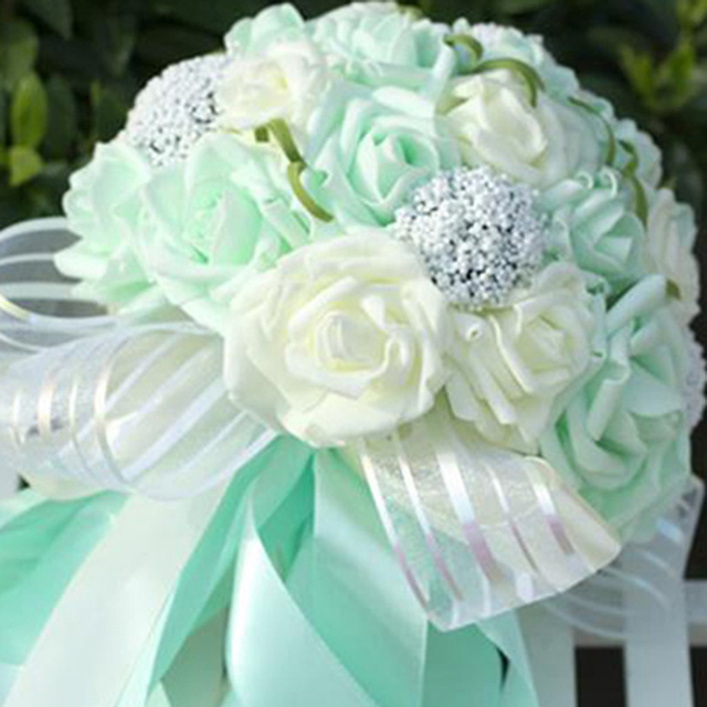 2016 Striped transparent tape artificial wedding bouquet Mint Green ...