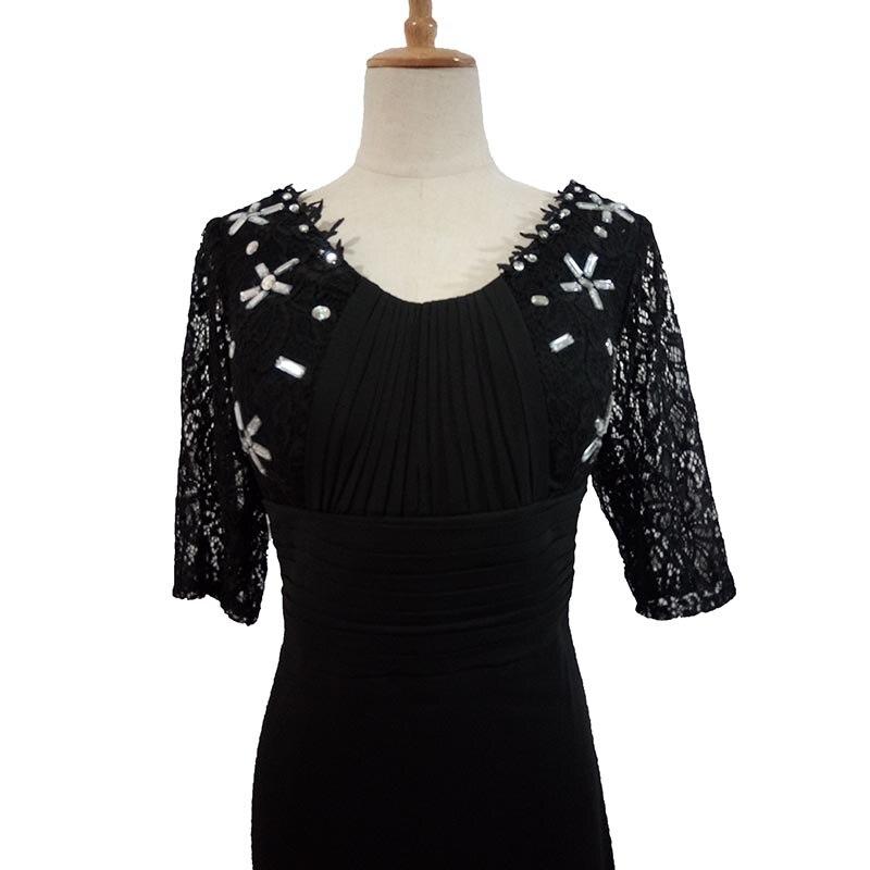 2017 nouvelle mère robe noir profond col en V clou perceuse manches soirée robe longue section - 5