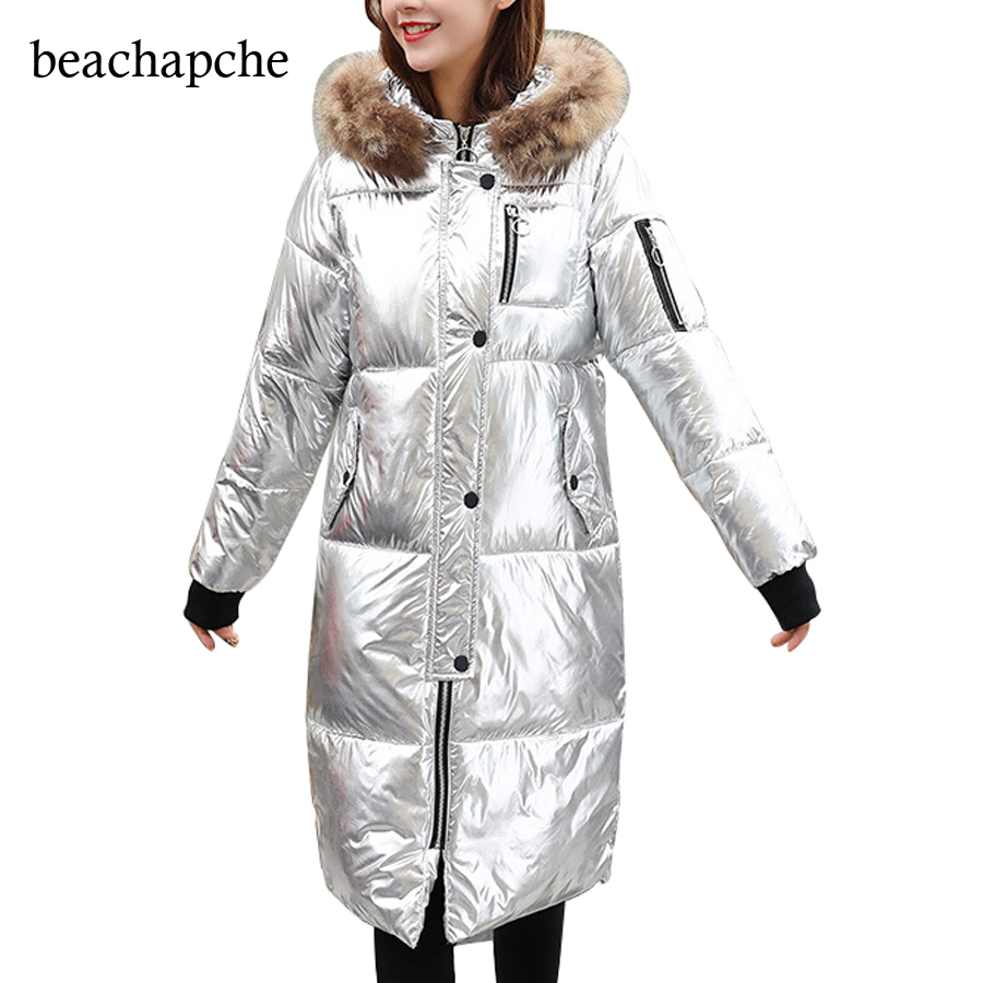 Winter Fashion Silver Down Jacket Female Parkas Street Zipper Long Sleeve Winter Coat 2017 Women Warm Parka Jacket Warm Coat s xl thick warm long women winter coat 2016 fashion down coat with hoodies long sleeve white parka solid color