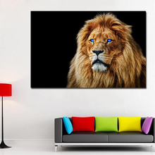HD Large Printed Canvas Art Lion Oil Paintings Wild Animals prints poster with Black Background for bedroom decor