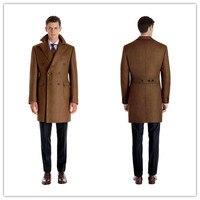 Для мужчин Шерсть Куртки зима осень Для мужчин шерстяные Пальто для будущих мам двубортный темно коричневые длинные пальто Для мужчин S теп