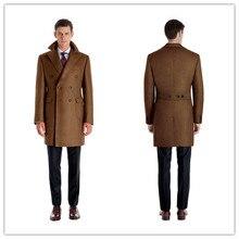 Мужские Шерстяные Куртки Зима Осень Мужчины Шерстяные Пальто двубортный темно-коричневый Длинные Пальто Мужские Теплые Шерстяные Пальто Размер 3XL 2XL