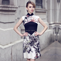 Original ink printing color stitching fashion design new national wind dress silk dress cheongsam improved daily