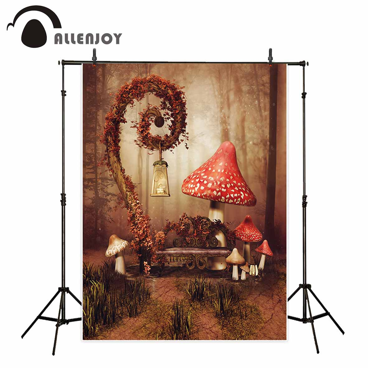 Allenjoy Children mushroom Wonderland autumn forest photography backdrops lawn vine scenic baby photographic backgrounds photo