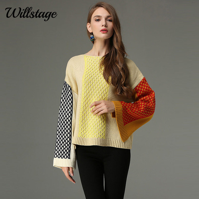 Willstage Women Sweater Flare Sleeve Side Split Patchwork Twist Plaid  Knitted Tops Loose Casual Pullovers 2018 Spring Winter Top df950d128a38