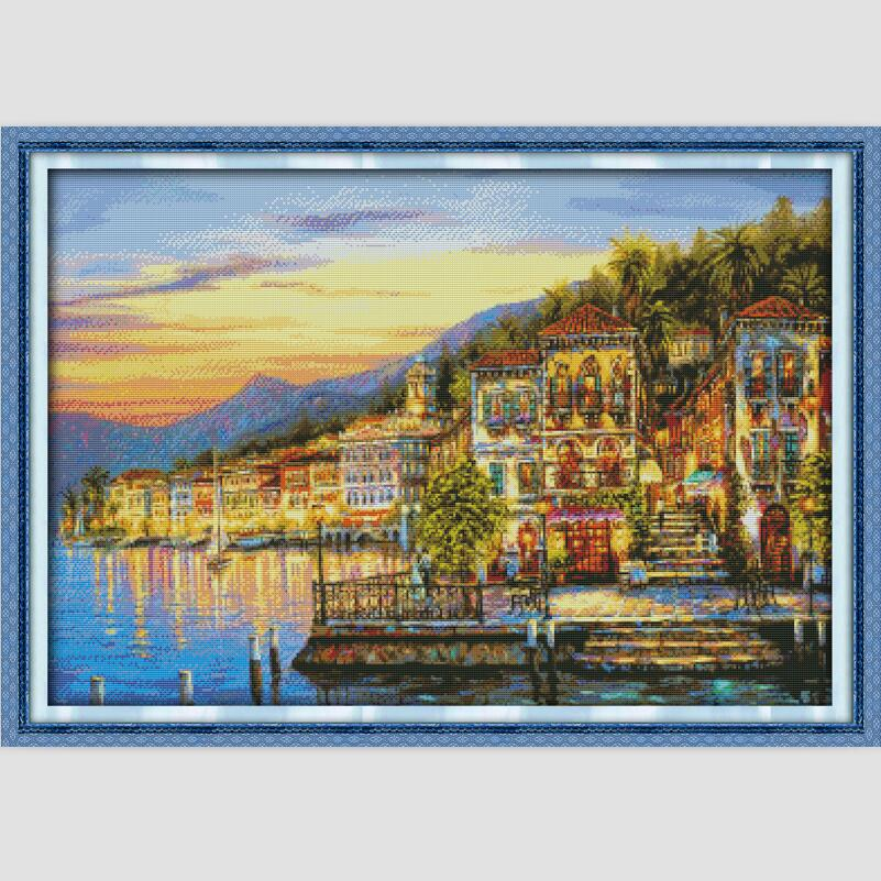 Nightfall Scenery Pictures DMC Thread Cross Stitch Sets For Embroidery 11CT 14CT Counted Cross Stitch Kits