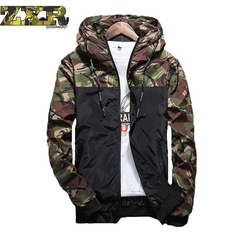 Outdoor Men Running Hooded Jackets New Camouflage Pattern Gym Sports Coats Windproof Soft Shell Outdoors Jogging Sportswear Bape ...