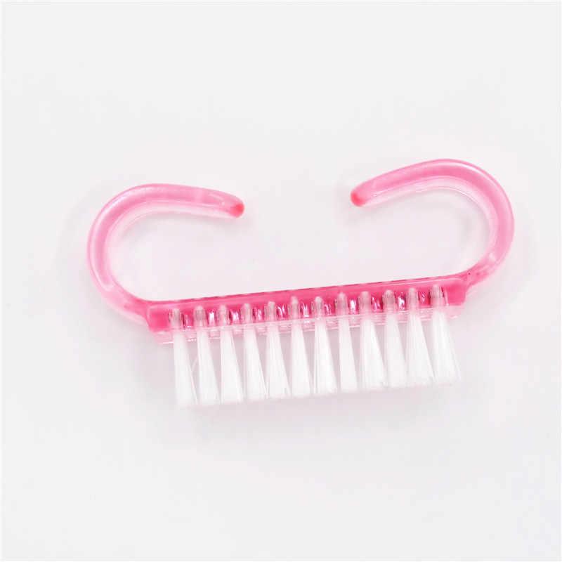 1pcs נייל אבק פלסטיק מניקור נקי נייל מברשת כלים ורוד צבע עבור אקריליק & UV ג 'ל פדיקור כלי מקצועי מברשת