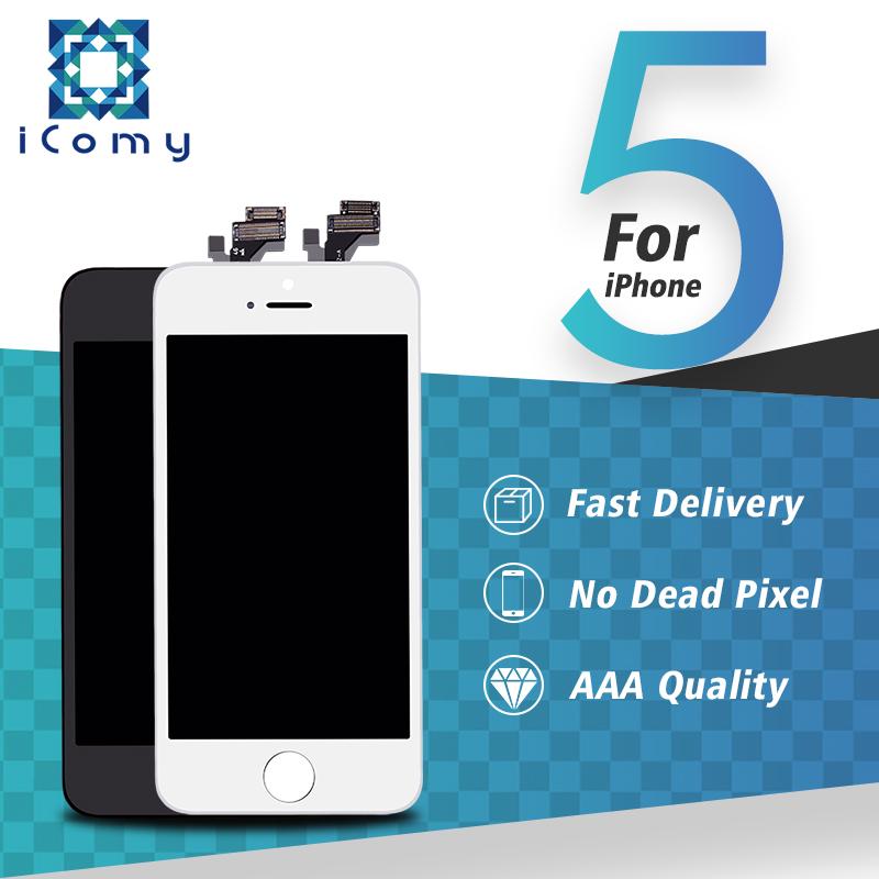 Prix pour Top qualité lcd pantalla pour iphone 5 5g affichage avec écran tactile digitizer assemblée noir/blanc libèrent le bateau