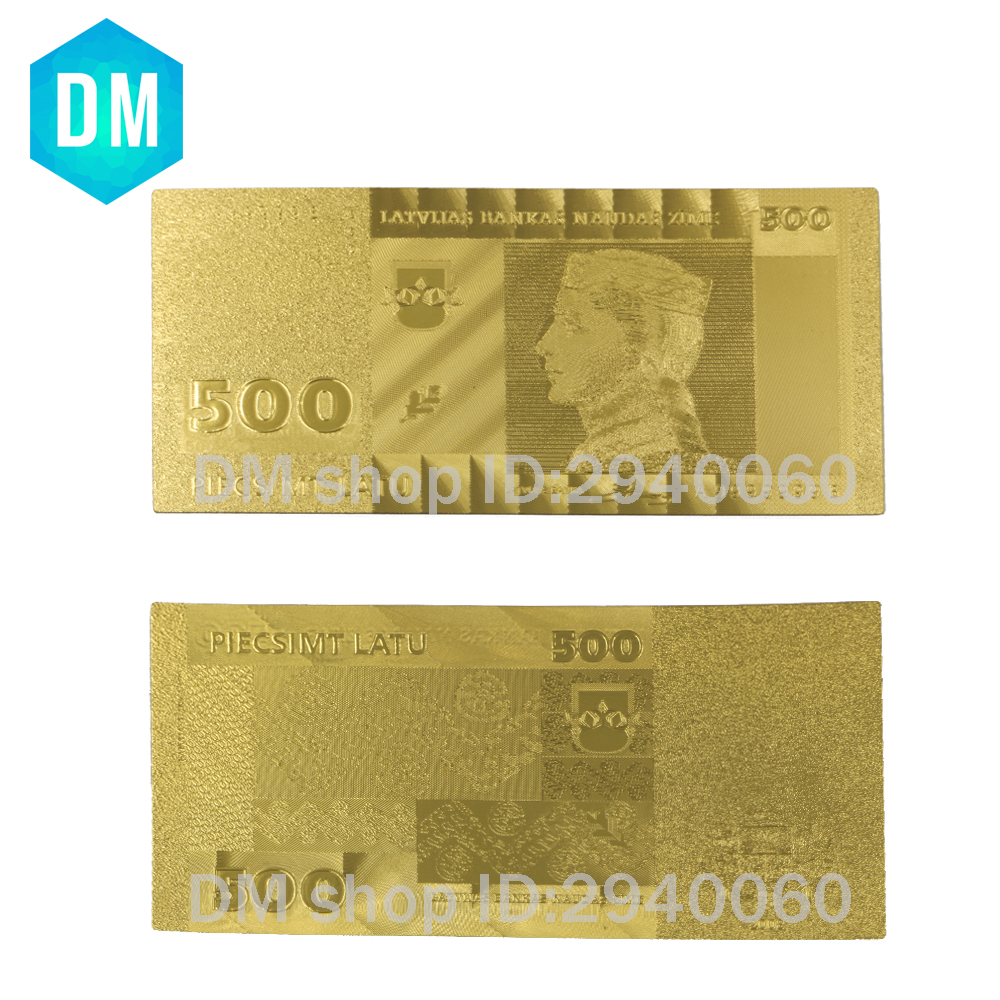 Hot Sale Value Collectible Rare Gold Banknote Latvia 500 Lat 24K Pure Gold Plated Banknote Souvenir Gifts 10pcs